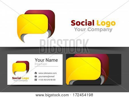 Chat News Corporate Logo and Business Card Sign Template. Creative Design with Colorful Logotype Visual Identity Composition Made of Multicolored Element. Vector Illustration.