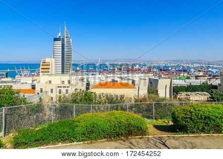 View Of The Downtown And The Harbor, In Haifa