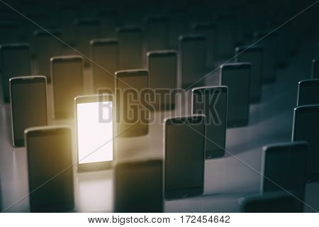 Choose mobile phone. Many smartphones . Business communication  technology concept background. 3d illustration
