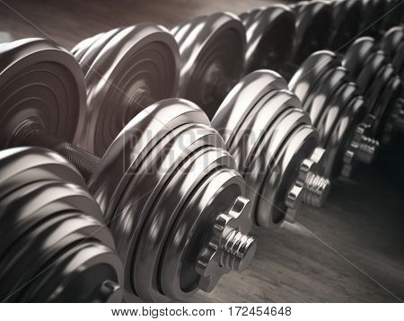 Rows of dumbbells  in the gym. 3d illustration