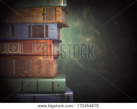 Stack of old books on green vintage background. 3d illustration