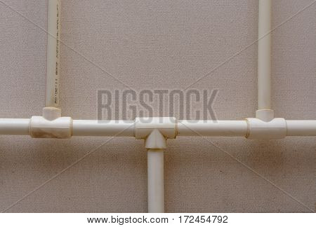 Old plastic Central heating pipes in apartment