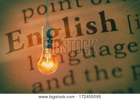 Fake Dictionary definition of the word english and light bulb