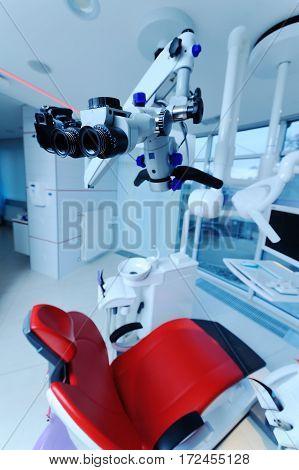 Dental Microscope on a background of a modern clinic closeup