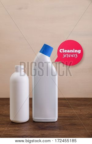 Mock-up plastic bottles. Cleaning services speech bubble. Mockup design for branding. Shampoo and washing wc cleaner. Front view. Wooden rustic board.
