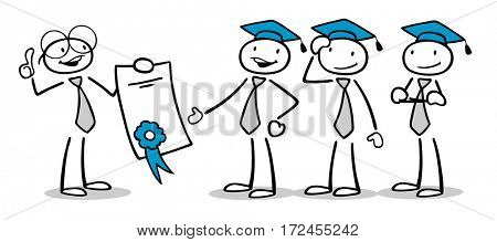 Cartoon man celebrating graduation with diploma from university