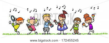 Group of cartoon children making music with instruments in nature