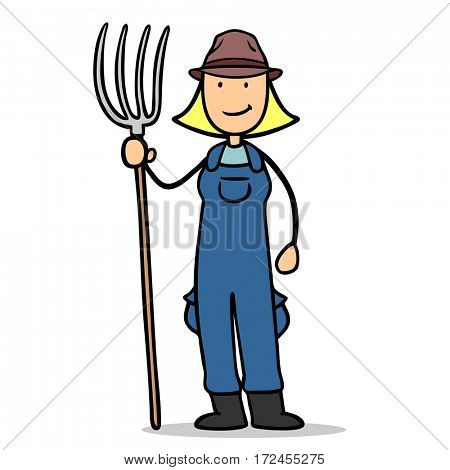 Cartoon woman as female organic farmer with pitchfork