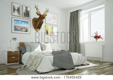 Bright modern bedroom with bed and deer on wall (3D Rendering)