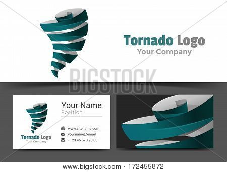 Tornadoes Corporate Logo and Business Card Sign Template. Creative Design with Colorful Logotype Visual Identity Composition Made of Multicolored Element. Vector Illustration.