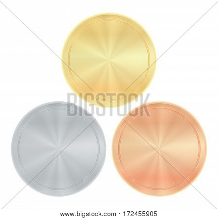 Vector shiny with radial circles round empty medals of gold silver bronze