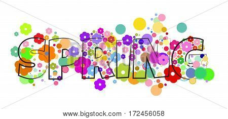 vector word inscription on the background of spring flowers and circles of different sizes and colors