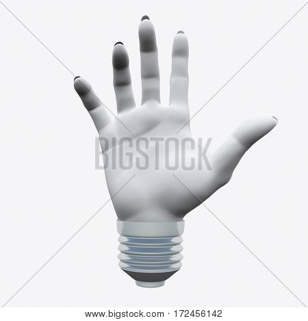 White Human's hand shape.in light bulb socket  3D Rendered