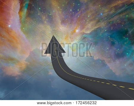 Highway to space in arrow shape  3D Rendered  Some elements provided courtesy of NASA