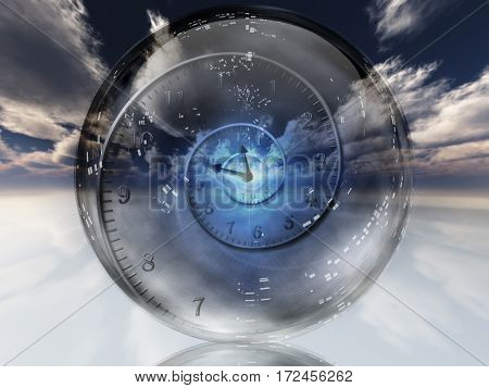 Spiral of time inside crystal ball.  3D Render