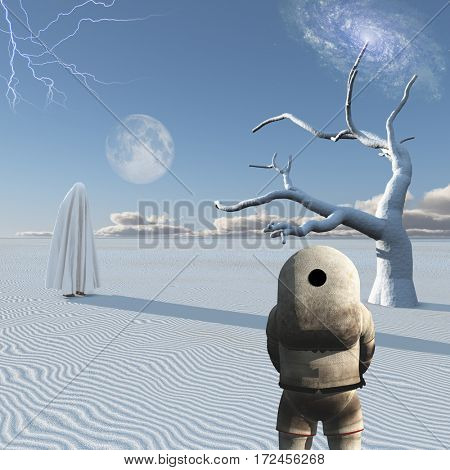 Astronaut stands in surreal white desert. Figure in white hijab.  3D Render  Some elements provided courtesy of NASA