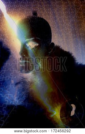 Woman's face on puzzle background.  3D Render