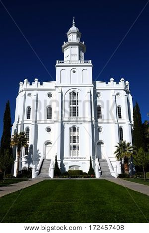 St. George Utah Mormon LDS Temple with white stone church religion public
