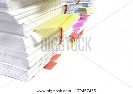 Stack or pile of documents in office