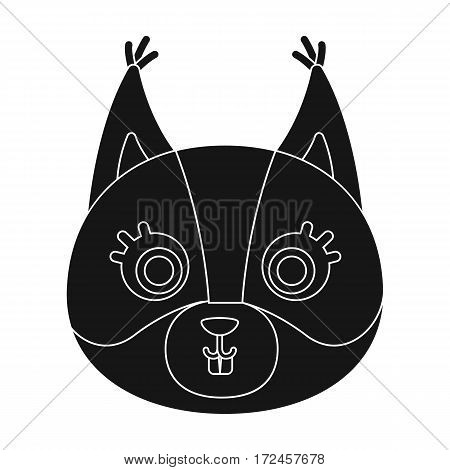 Squirrel muzzle icon in black design isolated on white background. Animal muzzle symbol stock vector illustration.