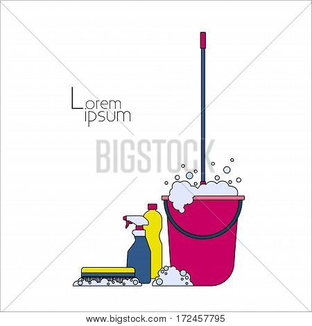 Household chemicals Vector illustration Mop in pink bucket with a foaming cleanser, household chemicals and cleaning brush on white background Thin line