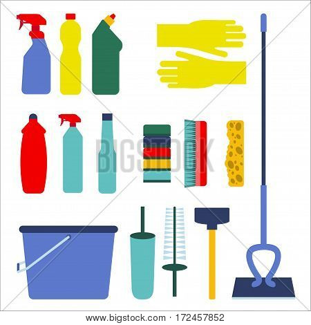 Housework icon set Set of icons for the housework on white background Tools for house cleaning Flat design