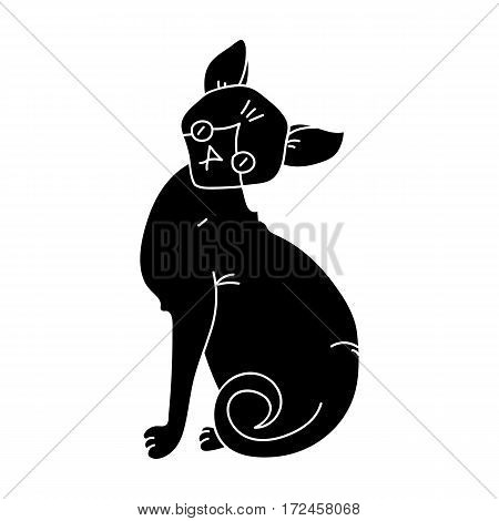 Sphynx icon in black design isolated on white background. Cat breeds symbol stock vector illustration.