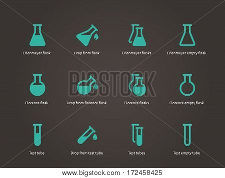 Erlenmeyer and florence flasks icons set. Vector illustration.