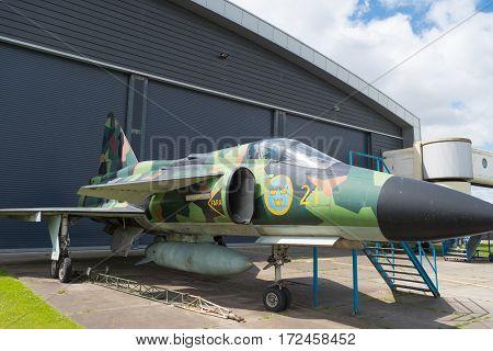 LELYSTAD NETHERLANDS - MAY 15 2016: Saab 37 viggen jet outside a hangar at the aviodrome aerospace museum