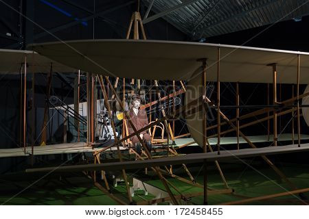 LELYSTAD NETHERLANDS - MAY 15 2016: Fokker spin airplane in the aviodrome museum. It was the first airplane built by Dutch aviation pioneer Anthony Fokker.