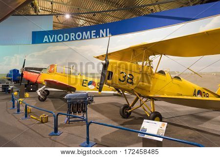 LELYSTAD NETHERLANDS - MAY 15 2016: Haviland Tiger Moth in the aviodrome aerospace museum