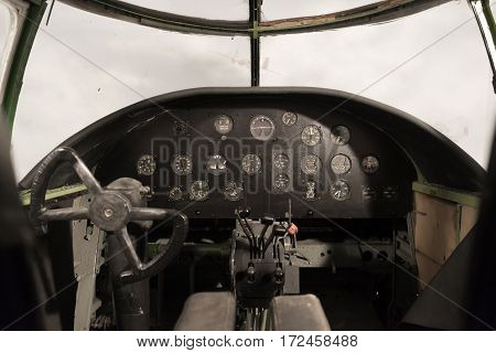 view of an antique WW II bomber cockpit