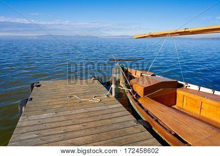 Albufera of Valencia boats in the lake in Spain
