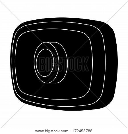 Webcam icon in black design isolated on white background. Personal computer accessories symbol stock vector illustration.