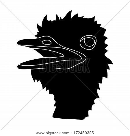 Ostrich icon in black design isolated on white background. Realistic animals symbol stock vector illustration.