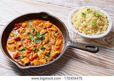 Chicken curry indian recipe with basmati rice