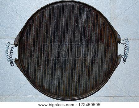 Cast iron grill black steel texture lines pattern