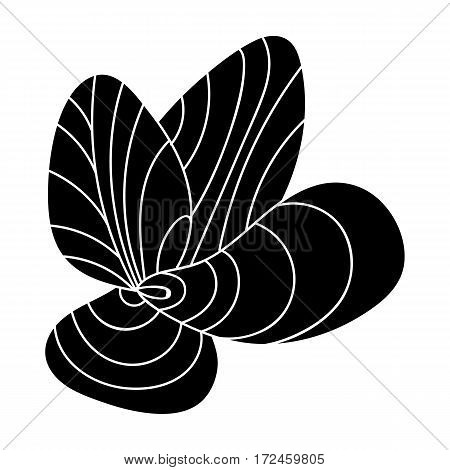 Mussels icon in black design isolated on white background. Sea animals symbol stock vector illustration.