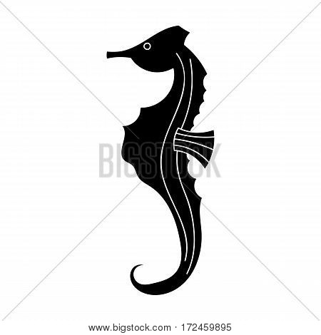Seahorse icon in black design isolated on white background. Sea animals symbol stock vector illustration.