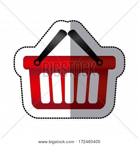 sticker colorful silhouette with shopping basket with two handle vector illustration