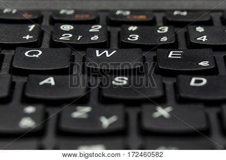 Detail closeup view of black keyboard key letters