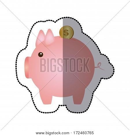 sticker color silhouette with money box in shape of pig vector illustration