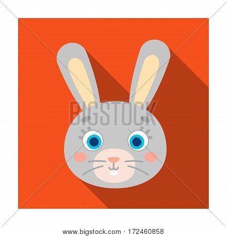 Rabbit muzzle icon in flat design isolated on white background. Animal muzzle symbol stock vector illustration.