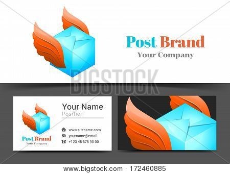 Delivery Post Corporate Logo and Business Card Sign Template. Creative Design with Colorful Logotype Visual Identity Composition Made of Multicolored Element. Vector Illustration.