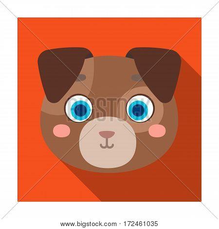 Dog muzzle icon in flat design isolated on white background. Animal muzzle symbol stock vector illustration.