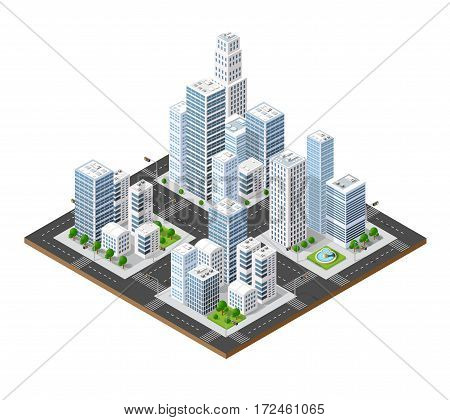 Isometric perspective city with streets houses skyscrapers parks and trees