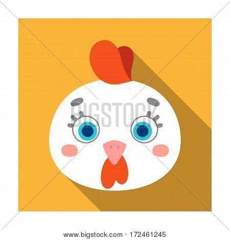 Hen muzzle icon in flat design isolated on white background. Animal muzzle symbol stock vector illustration.