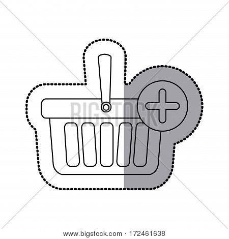 sticker silhouette with shopping basket with plus sign vector illustration