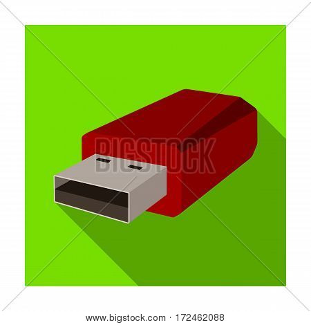 USB flash drive icon in flat design isolated on white background. Personal computer accessories symbol stock vector illustration.