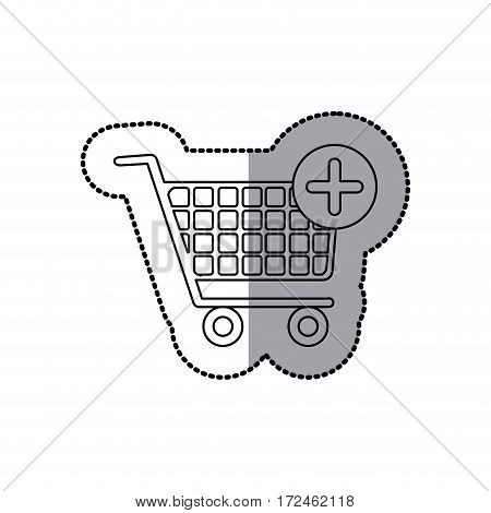 sticker silhouette with shopping cart and plus sign vector illustration